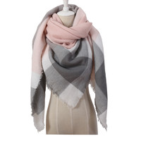 Brand Designer Fashion Pink Scarf Soft Cashmere Acrylic Warp Square Oversize Shawl For Women Winter Plaid Blankets 140X140cm