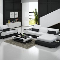 Modern design l shaped sectional sofa genuine leather luxury sofa sets