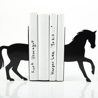 Bookends - Black Horse - laser cut from metal strong enough to hold books