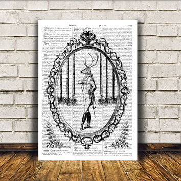 Deer art Stag poster Dictionary print Wall decor RTA304