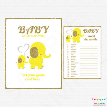 Elephant Baby Shower Games, Word Scramble Game, Yellow and Gold, Elephant Baby Shower Girl Boy, Printable Elephant Baby Shower, EL0004-yg