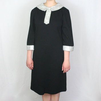 60s Wednesday Addams Dress / Sparkly Peter Pan Collar Mod Plus Size Soft Grunge Riot Grrrl Mini Dress / Size 14 XL Extra Large