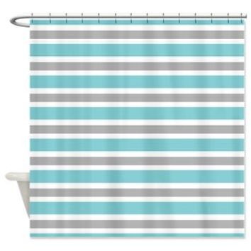 Shower Curtain> Blue, Gray And White Striped Collection> KCavender Home Goods