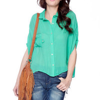 Loose Pocket Blouse in Jade :: tobi