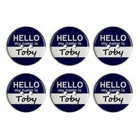 Toby Hello My Name Is Plastic Resin Button Set of 6