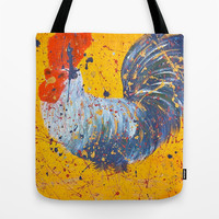 """mista roosta""  Rooster Rooster Tote Bag by Jennifer Pennacchio"