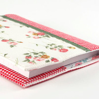 Fabric Journal Cover - Rose Garden - A6 Notebook, Diary - Romantic Pink Red Flowers With Green Satin Ribbon and Red Gingham
