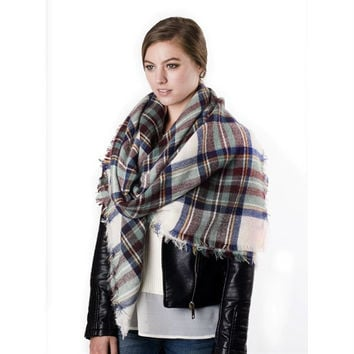 Ivory, Brown, & Blue Plaid Blanket Scarf