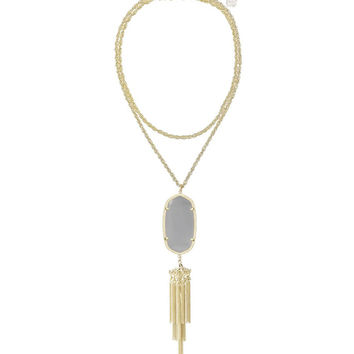 Kendra Scott Rayne Long Gold Necklace - Slate Grey Catseye 30 inch