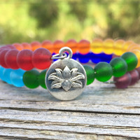 Chakra Sea Glass Beaded Bracelet by Wave of Life