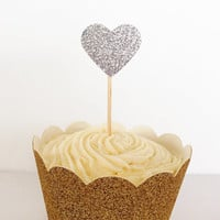 12 Silver Glitter Heart Cupcake Toppers - Birthdays, Parties, Weddings, Decoration