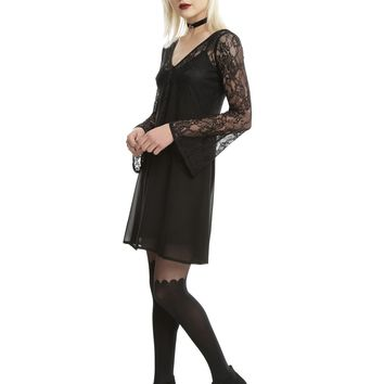 Black Lace Bell Sleeve Chiffon Dress