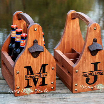 Rustic Beer Carrier, Personalized Beer Caddy, Monogram Tote, Wedding Gift