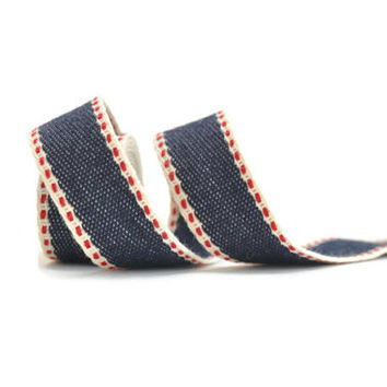 """3/4"""" Cotton ribbon Japanese denim, red and cream woven ribbon / double red running stitch, sold by the yard / twill tape / 2cm, 3/4"""" ribbon"""