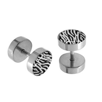 BodyJ4You Fake Plugs Leopard Pot Leaf Stainless Steel Gauges 16G Cheater Jewelry