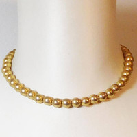Gold Bead Choker Necklace, Painted Beads, Large Round, Vintage Costume Jewelry, 17 inches