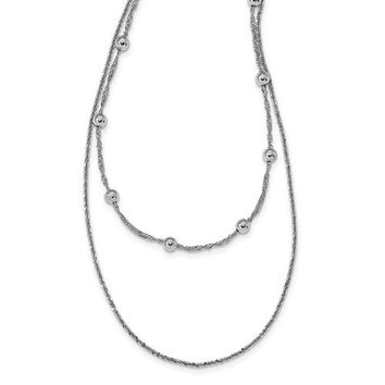 Leslie's Sterling Silver Double Strand With 4 In Ext. Choker Necklace