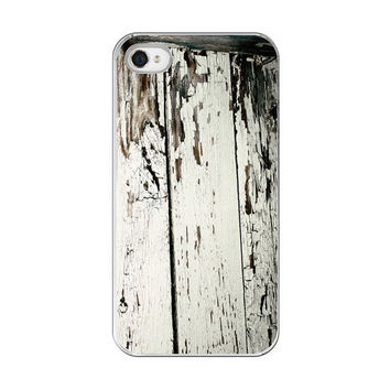 iPhone Case  Rustic Old White Wood Board by paperangelsphotos