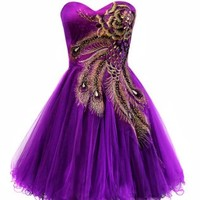 Metallic Peacock Embroidered Holiday Party Homecoming Prom Dress, Large, Purple