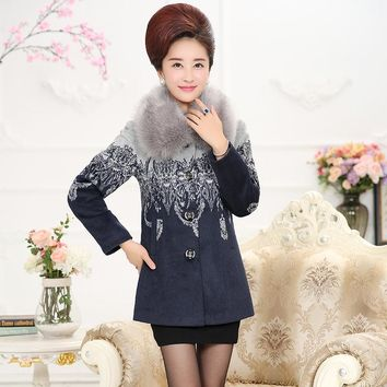 Women Coats And Jackets 2017 Middle-aged Woman Winter Coat Women Elegant Plus Size  Women's Cashmere Coat Grey Wool Coat