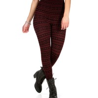 Burgundy Tribal Print Leggings