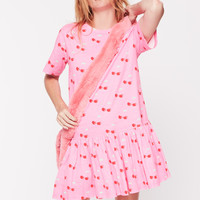 Pink Cherry Ruffle T-Shirt Dress