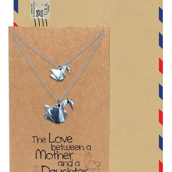 Mayumi Origami Swans Matching Mother and Daughter Necklaces, Gifts For Mom, Gifts for Daughter, Set of 2 with Greeting Cards