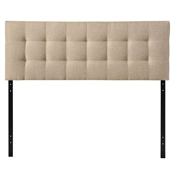 King size Beige Fabric Upholstered Headboard with Modern Tufting