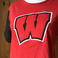 University of Madison Wisconsin handmade and upcycled game day shirt- Red and Black