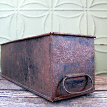 Vintage Industrial Metal Drawer, Industrial Metal Storage Bin, Rusty Black Metal Box, Display