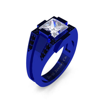 Mens Modern 14k Blue Gold 2.0 Carat Princess White Sapphire Black Diamond Ring R1020M-14KBLGBDWS