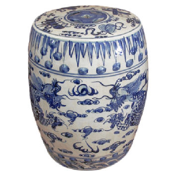 Blue and White Porcelain Dragon Motif Garden Stool 19""