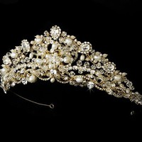 Fairy Tale Gold Crystals Pearl Bridal Tiara