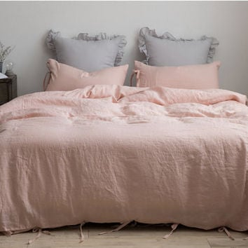 Washed Blush / Pale Pink / Pale Blush Coral Ribbon Tie Closure Premium Linen Soft Queen / Twin Size Bedding Set