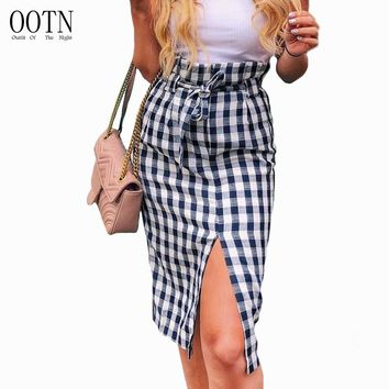 OOTN Plaid Midi Slit Pencil Skirts High Waist Women Blue White Gingham Bow Tie Long Skirts Female 2018 Summer Zipper Skirt