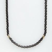 AXL by Triton Stainless Steel Black Ion & 14k Gold-Over-Stainless Steel Necklace - Men (Black/Gold)