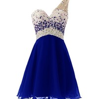 Dresstells One Shoulder Homecoming Dress with Beadings Short Bridesmaid Dress