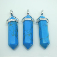 1PC Natural Gemstone Blue Howlite Point Pendulum Pendant Healing Crystal Point Pendulum Party Memory Gift