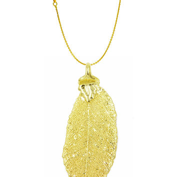 Real Leaf PENDANT with Chain ELM Dipped in 24K Yellow Gold Genuine Leaf Necklace