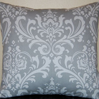 Pillows Gray Damask Throw Pillow Covers by FestiveHomeDecor