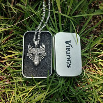 LANGHONG 1pcs Norse Vikings Pendant Necklace Norse Wolf Head Necklace Original Animal Jewelry Wolf Head hange
