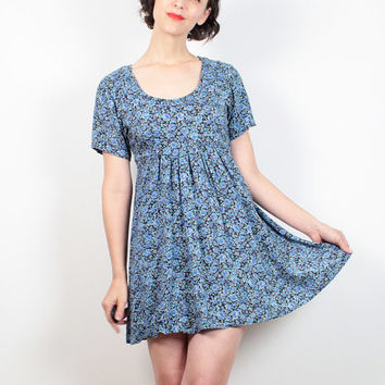 Vintage 90s Dress Blue Liberty Floral Print Dress Mini Dress 1990s Dress Soft My So Called Life Grunge Dress Babydoll Dress XS S Extra Small