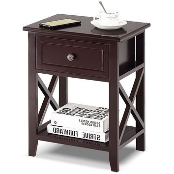 Classic Brown Wood 1-Drawer Open Shelf End Table Nightstand