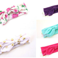 Top Knot Cotton Knit Headband | Baby Knotted Bow Tie Gold Foil Dots Floral Mint Purple or Hot  Pink Headbands Toddler Girls Jersey Head Wrap