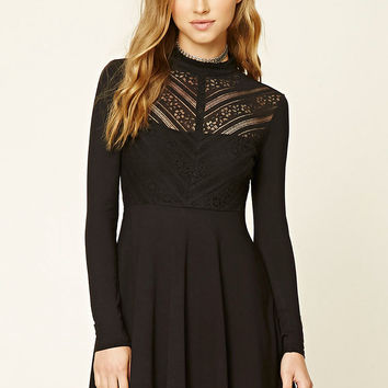 Floral Lace Mock Neck Dress