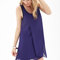 LOVE 21 Beaded Asymmetrical Chiffon Dress Purple/Black