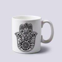 Hamsa Hand of Fatima Mug Cup Two Sides 11 Oz Ceramics