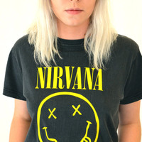 Vintage Original 90's NIRVANA Smiley Face Concert T-Shirt