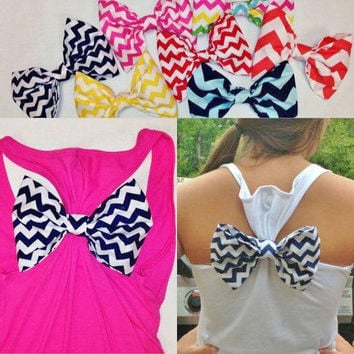 Ladies Racerback Tank Top with Chevron Bow
