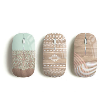Aztec wireless mouse, mint lace, navajo, geometric